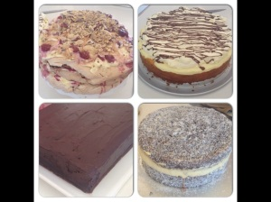 Cherry Honeycomb Pavlova, Chocolate Eclair Cake, Lamington Cake and Tim Tam Cake
